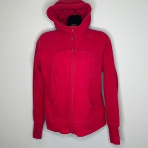 "LULULEMON red on red ""scuba"" zippered hoodie 12"